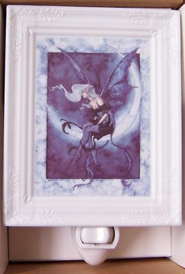 AMY BROWN Color MOONSPRITE FAIRY on CRESCENT MOON Porcelain Nightlight