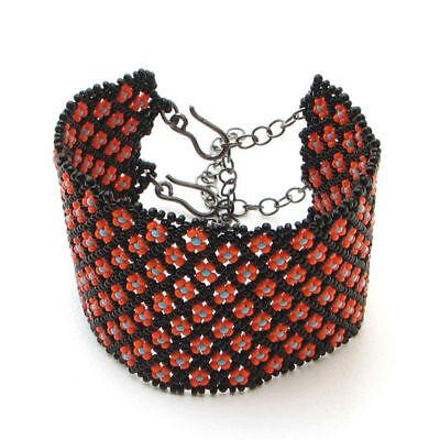 Black Orange Native American Style Inspired Beaded Cuff Bracelet