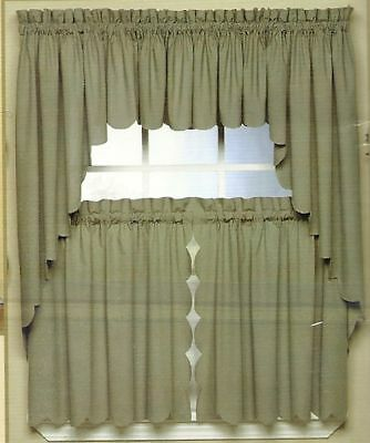 SCALLOP-EDGE-CURTAIN-VALANCE-TIERS-SWAG-VARIOUS-COLORS