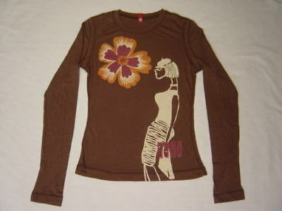 Scanty Go-go Fashion Girl Brown Cotton Shirt Top S