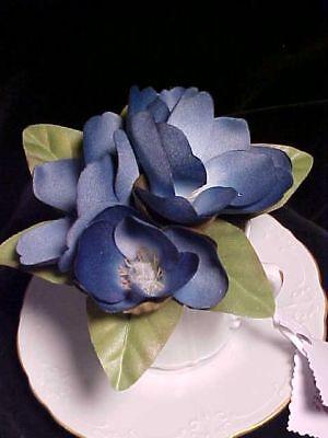 Silk Artificial Blue Magnolia W/ Tea Cup & Saucer