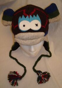 NWT-deLux-Argyle-SOCK-MONKEY-HAT-knit-ADULT-costume-FLC-LINED-cap-Toque-beanie