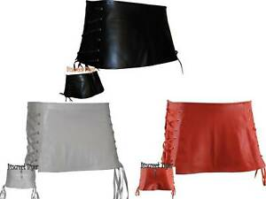 Punk-Rock-Mini-Micro-Skirt-Short-Soft-Faux-Leather-Criss-cross-Tie-Up-Side-New