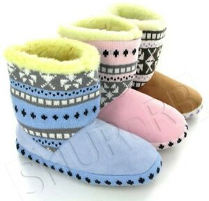 WOMENS-WARM-FUR-LINED-NORDIC-BOOTIE-SLIPPERS-SIZES-3-8