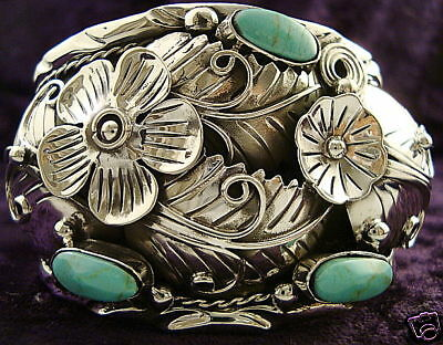 NAVAJO-DESIGN-TAXCO-MEXICAN-950-SILVER-TURQUOISE-FLORAL-FLOWER-BRACELET-MEXICO