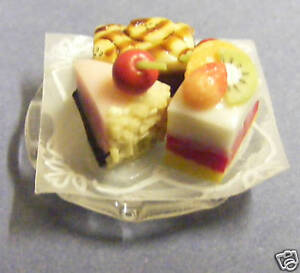 Three-Cakes-On-A-Glass-Plate-Dolls-House-Miniature
