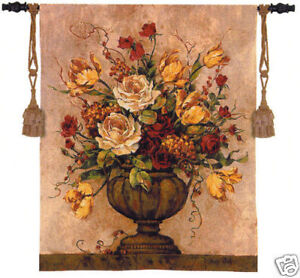 Reflections II Tapestry Wall Hanging Floral Vase Flowers 26 x32