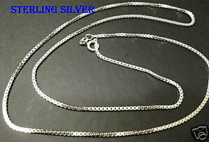 Sterling-silver-0-70MM-Mens-24-034-Box-chain-necklace