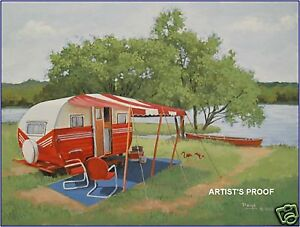 Vintage-039-53-Terry-Travel-Trailer-Camper-Flamingo-RV-ART
