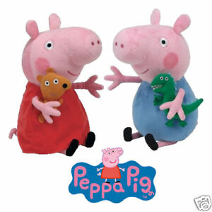 PEPPA PIG & GEORGE TY BEANIE BABIES PLUSH SOFT TOYS NEW WITH TAGS