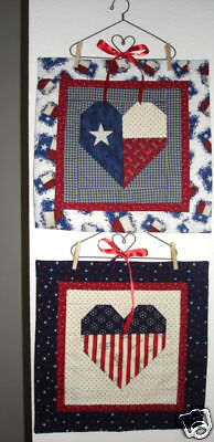 Us And Texas Flag Heart Small Quilt Patternpatriotic