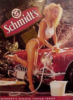 Chevrolet C1 Corvette Convertible Sexy Bikini Beer Pin-up Ad Art Poster Print on Rummage