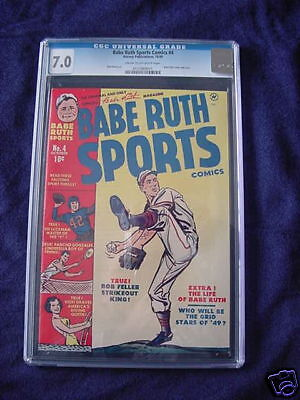 1949 BABE RUTH SPORTS COMICS #4 BOB FELLER CGC 7.0