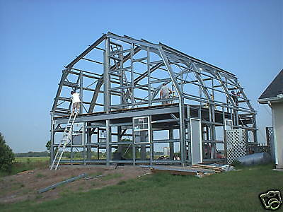 Steel gambrel home building shell kit 2 floor 1800 sq ft for Steel metal home gambrel building kit 3500 sq ft