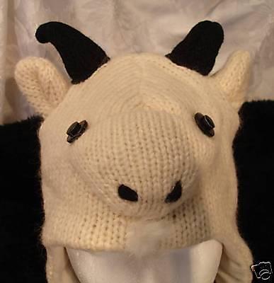 GOAT-HAT-knit-FAST-US-SHIP-fleece-Lnd-ADULT-alpaca-cap-Halloween-Costume-animal