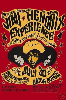Jimi Hendrix at Baton Rouge LA. Concert Poster 1968  2nd Printing