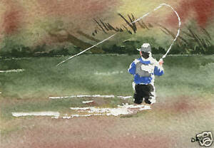 FLY-FISHING-ACEO-Miniature-Art-Print-on-W-C-Paper-Signed-by-Artist-DJR