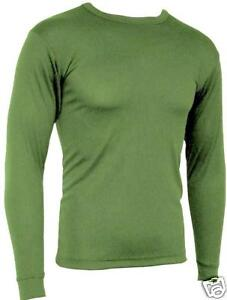 TECHNICAL-BASE-LAYER-SKI-TOP-Mens-Medium-olive-thermal-Army-Military-long-sleeve