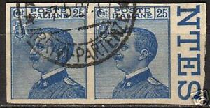 Italy-1908-YV-79-in-imperforated-pair-CANC-VF