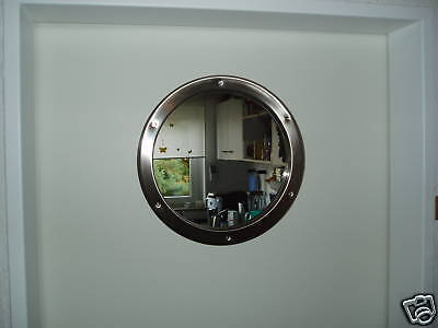 Türbullauge Edelstahl 38,5cm rund für Zimmertür Bullauge Küchentür Rundfenster