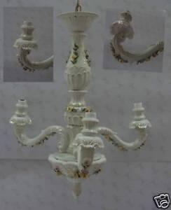 lampadario capodimonte : Dettagli su Lampadario 3 luci Porcellana Capodimonte Carusio