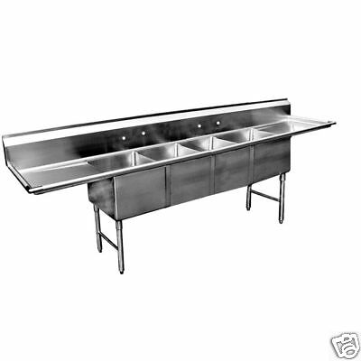 4 Compartment Stainless Steel Sink 16x20 2 Drainboard