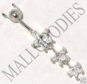 B001 Steel Belly Naval Ring 3 Stars Star Cute Dangly Clear Cubic Zirconia CZ