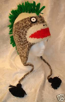 Punk Rock SOCK MONKEY HAT knit ADULT costume FLC LINING green mohawk helmet - Adult Sock Monkey Hat