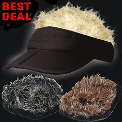 Funny-Fake-Hair-Hairy-Spiky-Golf-Visor-Hat-Cap-GAG-Gift
