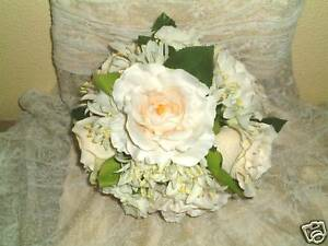 Details about Brides Champagne & Ivory Rose Posy, Bouquet, Bridesmaid