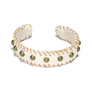 Dogeared-Cuff-Love-Studded-Leather-in-Creme-NEW