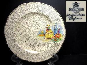 OLD-ENGLISH-ROYAL-CROWN-CRINOLINE-LADY-BREAD-PLATE-4
