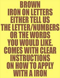 how to iron on letters 10 4 quot brown iron on letters numbers transfer printing 11753