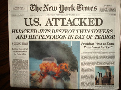 NEW YORK TIMES Newspaper 9 11 01, September 12