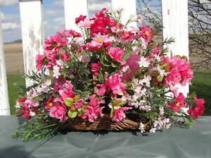 Silk-Flower-Table-Arrangement-Pink-in-Wicker-Basket