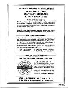 Sears-Craftsman-Radial-Arm-Saw-Manual-No-113-29411