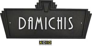 Art deco style house name plaque sign door plaque retro for Plaque deco cuisine retro