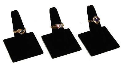 3 Black Velvet Ring Finger Display Jewelry Showcase