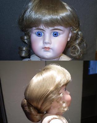 Q.perruque Pour Poupee Ancienne Porcelaine Blonde Tour De Tete 32-33 Cm