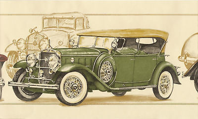 Antique Roadster,touring Cars Grn Wallpaper Border Wall