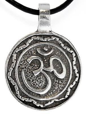 Ohm Om Buddhist Yoga Silver Pewter Pendant Leather