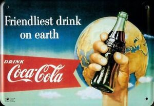 Coca-Cola-Earth-Metal-postcard-Tin-Sign-Metal-Tin-Post-Card-Sign-10-x-14-cm