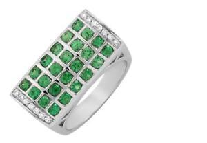 CERTIFIED-1-50ctw-Green-Tsavorite-Garnet-Diamond-18K-White-Gold-Ring-Pendant