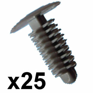 25x-Grey-Car-Panel-Trim-Clips-6-7mm-hole-14mm-Head