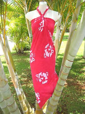 Fahrt Bikini (Sarong Pink Hibiskus Hawaiisch Luau Coverup Sexy Bikini Wickel Kreuzfahrt Kleid)