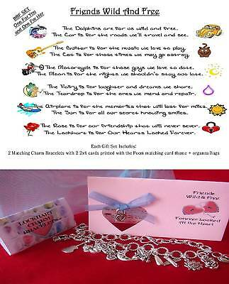 2 Silver Friendship Poem Best Friends Charms Bracelets Traditional