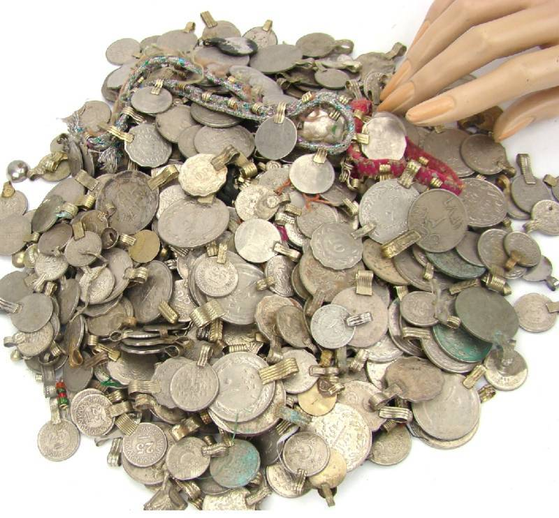 150 real COINS Belly Dance Bellydance Tribal Kuchi MIXED
