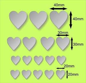 New Mirror acrylic hearts x17  2,3 /& 4cm Embellishments Crafting Decoration