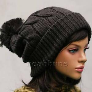chic-pom-pom-BEANIE-Ski-snowboard-Men-Women-Knit-top-best-Hats-Crochet-Cap-LSK