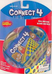 CONNECT-4-FOUR-mini-game-CARABINER-Keychain-Keyring